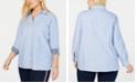 Tommy Hilfiger Plus Size Oxford Dot Roll Tab Top