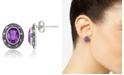Macy's Amethyst (2-1/5 ct. t.w.) & Marcasite Oval Stud Earrings in Sterling Silver
