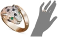 EFFY Collection EFFY Signature Black and White Diamond (1-1/3 ct. t.w.) and Emerald Accent Panther Ring in 14k Rose Gold