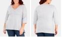 NY Collection Plus Size Handkerchief-Hem 3/4-Sleeve Top