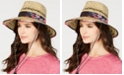 Betsey Johnson Steve Madden Dusted Floral Bolo Woven Panama Hat