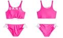 DKNY Big Girls 2-Pc. Logo Sunsuit Bikini