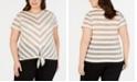INC International Concepts I.N.C. Plus Size Metallic Stripe Tie-Hem Top, Created for Macy's