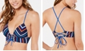 Hula Honey Juniors' Skinny Mini Stripe Molded Push-Up Midkini Top, Available in D/DD, Created for Macy's
