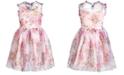 Pink & Violet Little Girls Floral-Print Mesh Dress