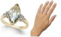 Macy's Mint Quartz (3-3/8 ct. t.w.) & Diamond (1/8 ct. t.w.) Statement Ring in 14k Gold