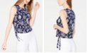 Michael Kors Printed Grommet-Side Sleeveless Top, Created for Macy's