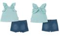 Calvin Klein Little Girls 2-Pc. Ruffle Tank Top & Denim Skort Set