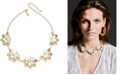 """INC International Concepts I.N.C. Gold-Tone Imitation Pearl Flower Statement Necklace, 18"""" + 3"""" extender, Created for Macy's"""