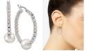 Macy's Cultured Freshwater Pearl (8mm) Beaded Hoop Earrings in Sterling Silver