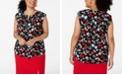 Nine West Plus Size Sleeveless Printed Blouse