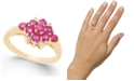 Macy's Ruby (1-1/3 ct. t.w) & Diamond Accent Cluster Ring in 14k Gold