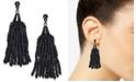 INC International Concepts INC Black-Tone Beaded Fringe Drop Earrings, Created for Macy's