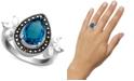 Macy's Multi-Stone Teardrop Ring in Fine Silver-Plate