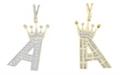 Macy's Men's Diamond (3/8 ct.t.w.) Crowned Initial Pendant in 10k Yellow Gold