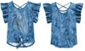 Beautees Big Girls Unicorn-Print Tie-Front Top