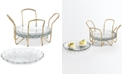 Martha Stewart Collection CLOSEOUT! Set of 4 Appetizer Plates with Gold Caddy, Created For Macy's