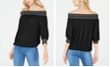 INC International Concepts INC Crochet-Trim Off-The-Shoulder Top, Created for Macy's