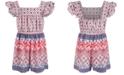 Bonnie Jean Little Girls Mixed-Print Romper