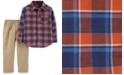 Carter's Toddler Boys 2-Pc. Cotton Plaid Button-Front Top & Khaki Pants Set