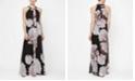 SL Fashions Embellished Neckline Floral Maxi Dress