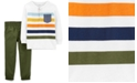 Carter's Baby Boys 2-Pc. Cotton Striped Henley-Neck Top & Pants Set