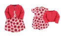 Touched by Nature Organic Cotton Dress and Cardigan Set, Poppy, 3 Toddler