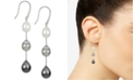 Macy's Cultured White South Sea Pearl (8mm), Cultured Gray Tahitian Pearl (9mm) & Cultured Black Tahitian Pearl (10mm) Drop Earrings in Sterling Silver