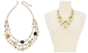 """Charter Club Gold-Tone Imitation Pearl, Bead & Flower Coin Triple-Row Statement Necklace, 20"""" + 2"""" extender, Created For Macy's"""