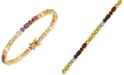 Macy's Multi-Gemstone (10 1/6 ct. t.w.) Tennis Bracelet 18K Gold Over Sterling Silver
