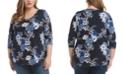 Karen Kane Plus Size Floral Printed 3/4-Sleeve Top