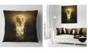 "Design Art Designart Fantasy Elephant On Black Animal Throw Pillow - 16"" X 16"""