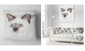 "Design Art Designart Cute Hand Drawn Cat Watercolor Animal Throw Pillow - 16"" X 16"""