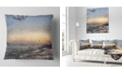 "Design Art Designart Colorful Dawn Over Sea Watercolor Landscape Printed Throw Pillow - 16"" X 16"""