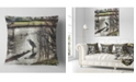"Design Art Designart Bird In National Park Watercolor Landscape Printed Throw Pillow - 18"" X 18"""