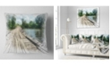 "Design Art Designart Bridge Over Waterfall In Forest Landscape Printed Throw Pillow - 18"" X 18"""