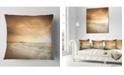 """Design Art Designart Beautiful Brown Beach At Sunset Beach Throw Pillow - 16"""" X 16"""""""