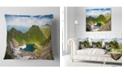 "Design Art Designart Mountain Lake View On Bright Day Landscape Printed Throw Pillow - 18"" X 18"""