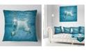 "Design Art Designart Polar Bear Swimming Under Water Animal Throw Pillow - 18"" X 18"""