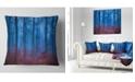 """Design Art Designart Mysterious Blue Thick Woods Modern Forest Throw Pillow - 18"""" X 18"""""""