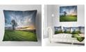 "Design Art Designart Green Grass Field In Sardinia Landscape Printed Throw Pillow - 16"" X 16"""