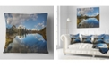 """Design Art Designart Clear Lake With Pine Trees Panorama Landscape Printed Throw Pillow - 18"""" X 18"""""""