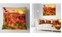 "Design Art Designart Summer Sunset With Red Poppies Landscape Printed Throw Pillow - 16"" X 16"""