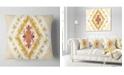 """Design Art Designart Yellow Rhombus Fractal Design Abstract Throw Pillow - 16"""" X 16"""""""