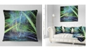 "Design Art Designart Green Blue Magical Fractal Pattern Abstract Throw Pillow - 16"" X 16"""