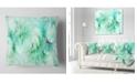 """Design Art Designart Green Circles Fractal Texture Abstract Throw Pillow - 18"""" X 18"""""""