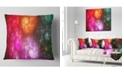 "Design Art Designart Multi Color Rotating Galaxies Abstract Throw Pillow - 18"" X 18"""