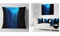 """Design Art Designart Blue Flames Fractal Pattern Abstract Throw Pillow - 18"""" X 18"""""""