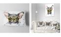 "Design Art Designart Black French Bulldog With Stars Animal Throw Pillow - 12"" X 20"""