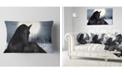 "Design Art Designart Black Horse In Moonlight Animal Throw Pillow - 12"" X 20"""